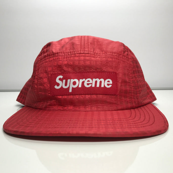 Supreme Metallic Check Camp Cap Red Box Logo Hat SS17