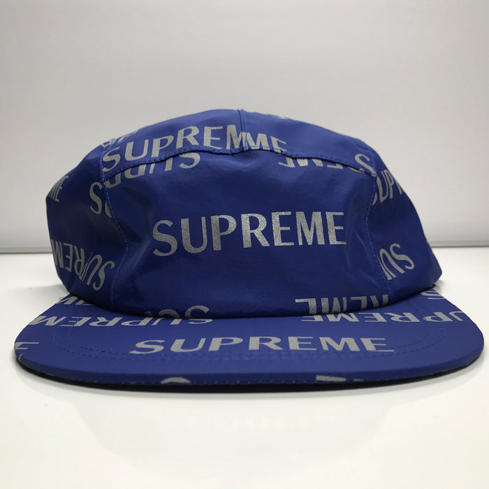 Supreme 3M Reflective Repeat Taped Seam Camp Cap Royal Blue Hat FW16