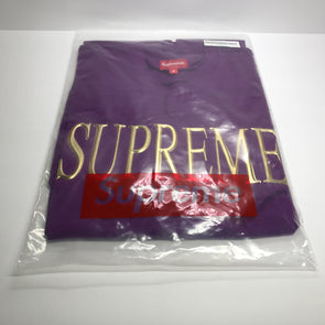 Supreme Gold Logo L/S Tee Shirt Purple Size M FW16 KN38