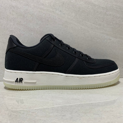NIKE AIR FORCE 1 LOW RETRO QS SIZE 7.5 BLACK CANVAS AH1067-004