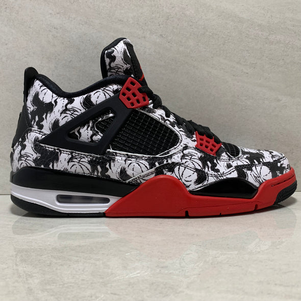 AIR JORDAN 4 IV RETRO TATTOO 2018 SIZE 10-12 BLACK/FIRE RED/WHITE BQ0897-006