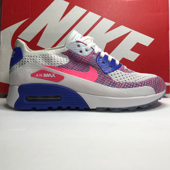 DS Women's Nike Air Max 90 Flyknit Ultra 2.0 White/Pink/Blue Size 6/Size 8