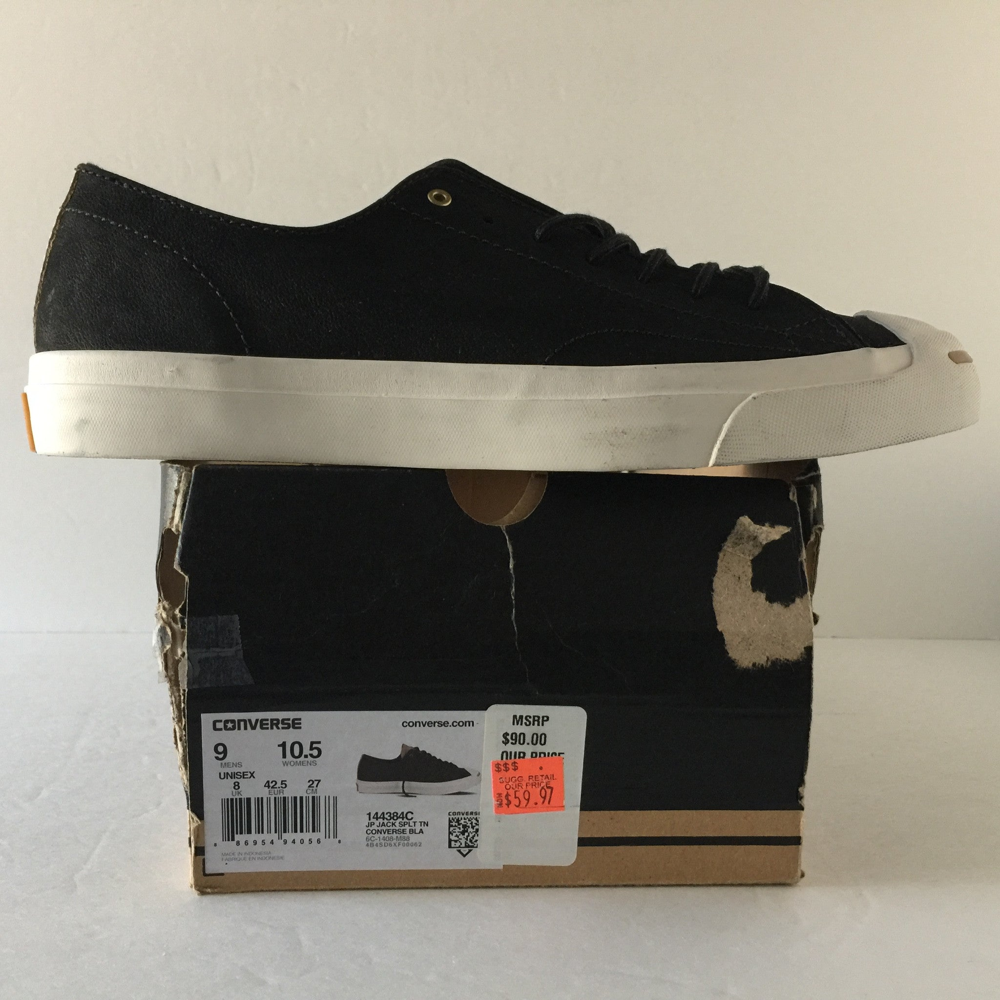 DS Converse Jack Purcell Split Tongue Leather Ox Black Size 10.5 - DOPEFOOT  - 2