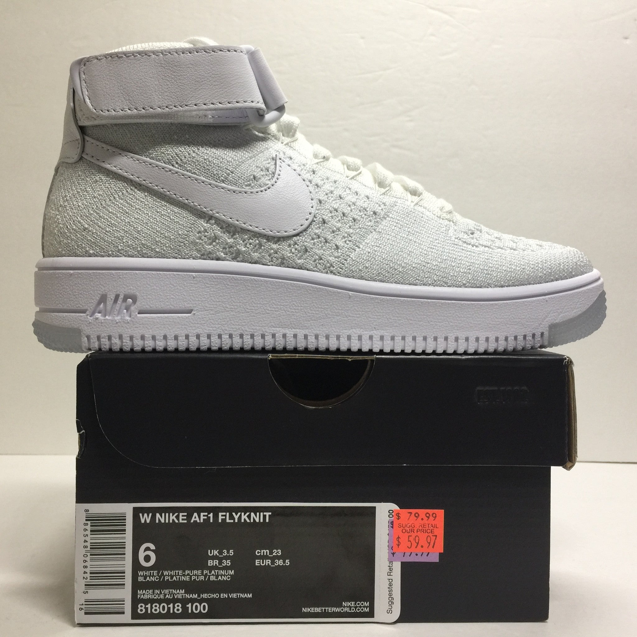 DS W Nike Air Force 1 Flyknit High White Size 6/6.5/Size 7.5 - DOPEFOOT  - 2