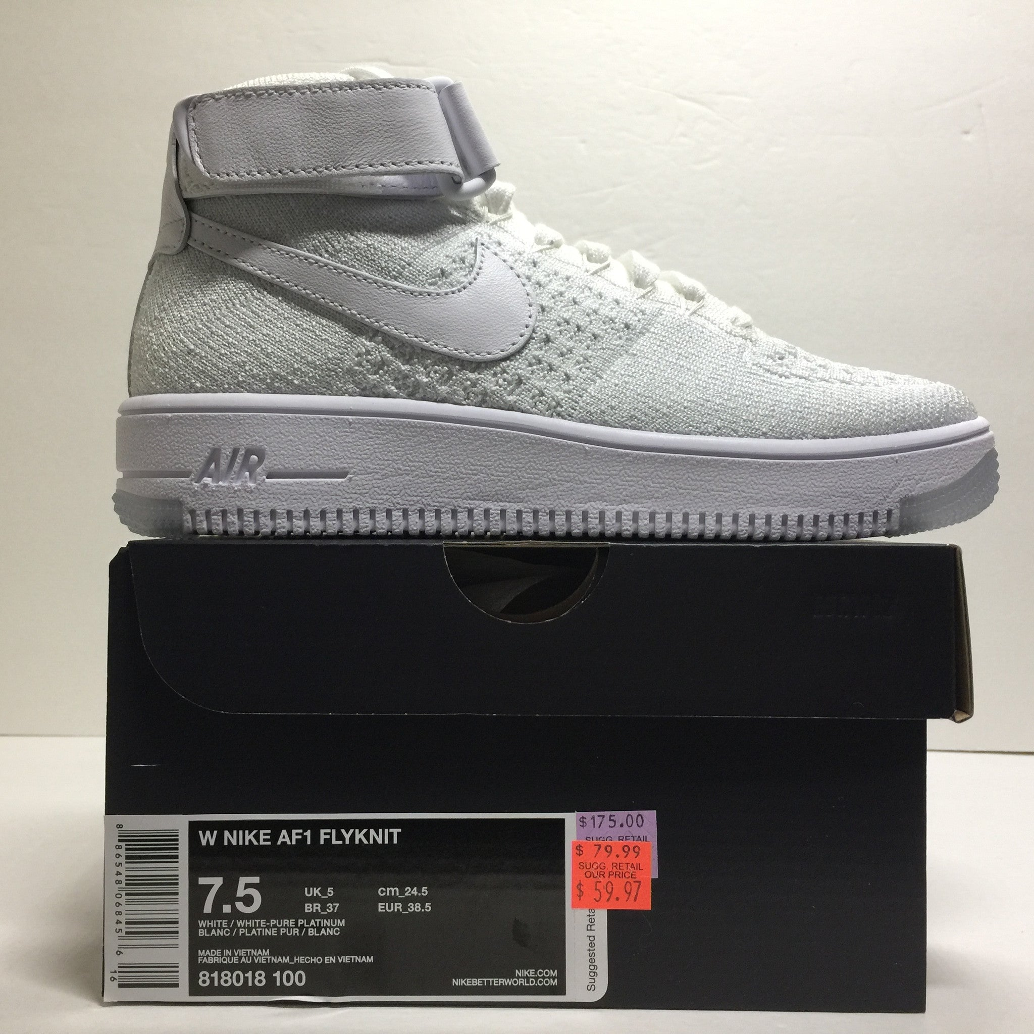 DS W Nike Air Force 1 Flyknit High White Size 6/6.5/Size 7.5 - DOPEFOOT  - 4