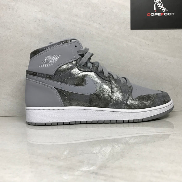 DS Jordan 1 I High Premium GG Wolf Grey/Silver/White Size Youth 6/7/Size 8/Size 9