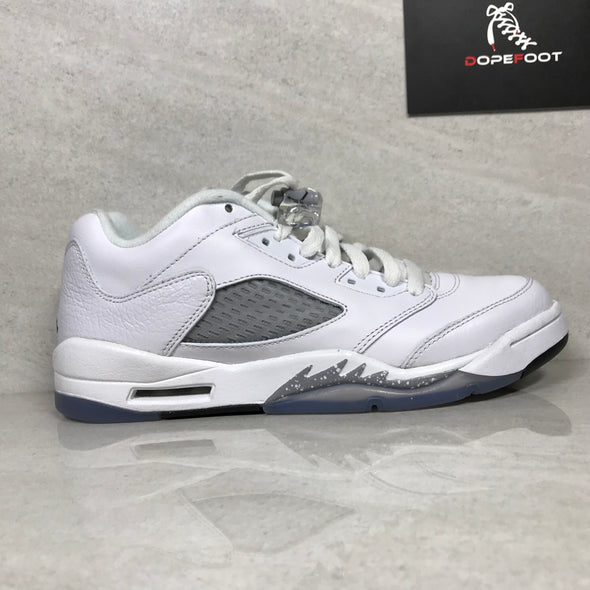 DS Air Jordan 5 V Retro Low GG White/Black/Wolf Grey Size 7Y