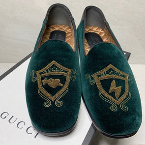 Gucci Green Embroidered Velvet Loafers - Men's Size 8.5
