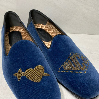 Gucci Heart Dagger Bee Logo Velvet Loafers Blue Embroidered - Men's Size 8.5