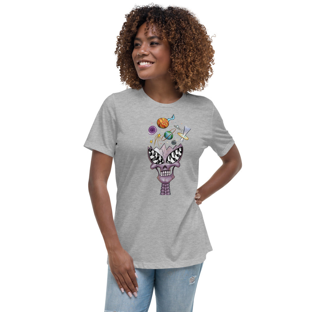 Purple Crystal Alien Skull Relaxed T-Shirt