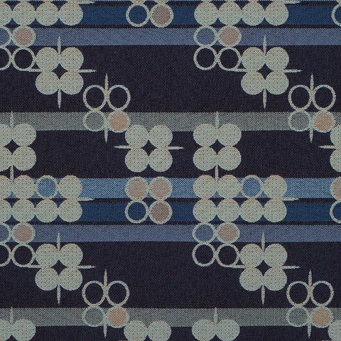 Pallas Seeking Truth Twilight Stripes And Circles Blue Upholstery Fabric