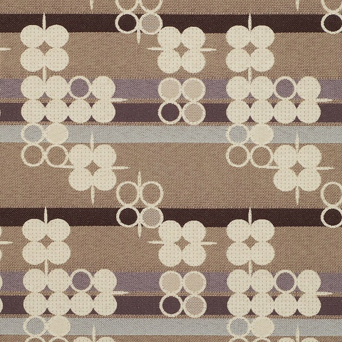 Pallas Seeking Truth Coal Stripes And Circles Beige Upholstery Fabric