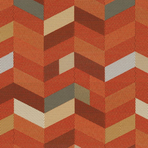 Maharam Parquet Magma Chevron Crypton Orange Upholstery Fabric