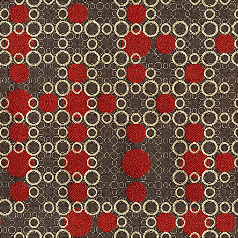 Fabric Remnant of Blowing Bubbles Color 22 Red Upholstery Fabric