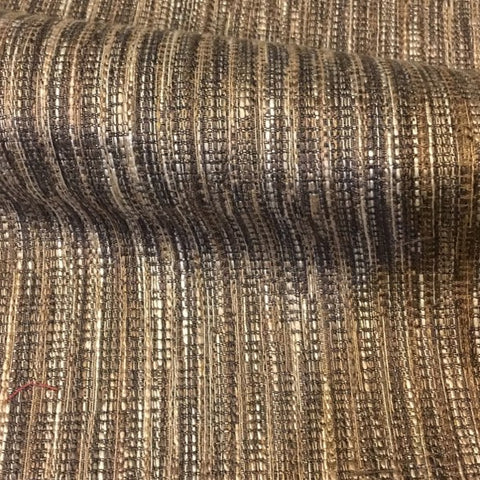 Decoy Bark Brown Textured Weaved Stripe Upholstery Fabric