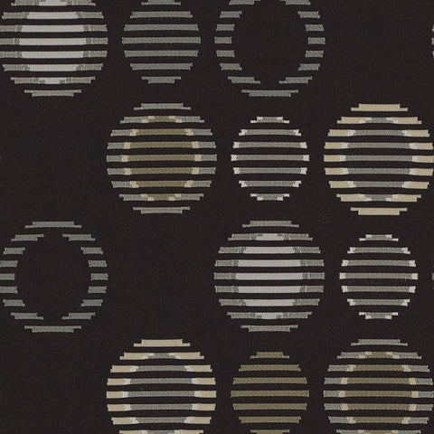 Arc-Com Upholstery Fabric Crypton Sliced Circles Cirque Coal
