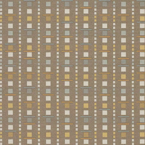 Arc-Com Analog Sand Geometric Brown Upholstery Fabric