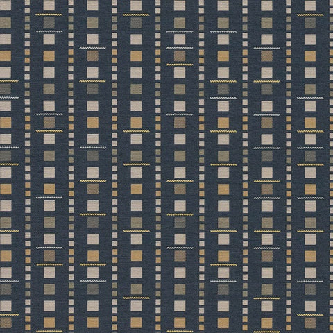 Arc-Com Analog Midnight Geometric Blue Upholstery Fabric