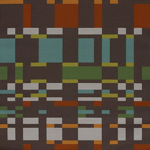 Arc-Com Square One Cocoa Geometric Brown Upholstery Fabric