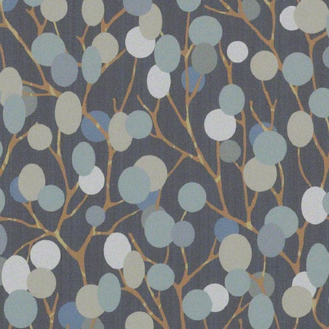 CF Stinson Natural World Nightshade Colorful Botanical Vinyl Blue Upholstery Fabric