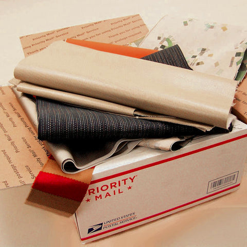 Craft Box of Assorted Fabrics: Flat Rate Shipping Box