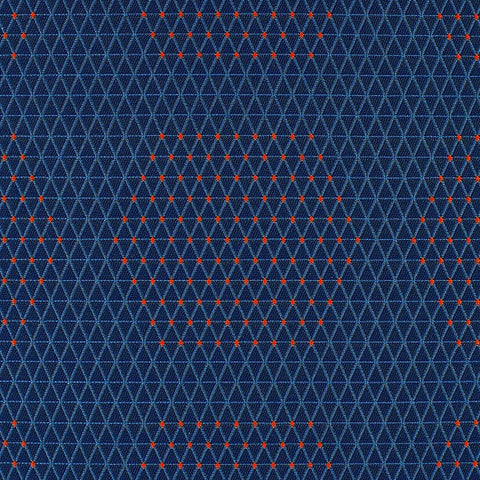 HBF Dot Structure Blue and Orange Upholstery Fabric