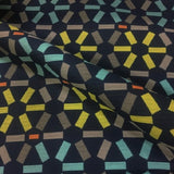 Atomic Navy Geometric Crypton Blue Upholstery Fabric