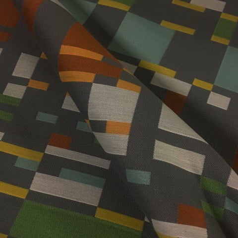 Arc-Com Square One Fog Geometric Gray Upholstery Fabric