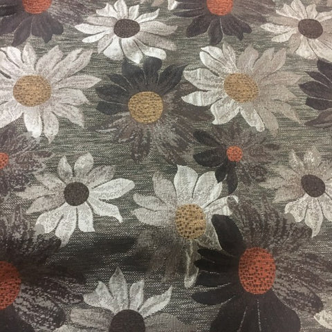 Sunflower Chocolate Brown Floral Pattern Upholstery Fabric
