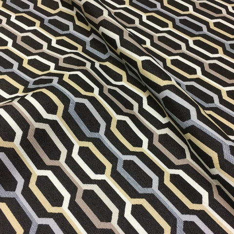 Carnegie Camden Color 6 Ogee Design Black Upholstery Fabric
