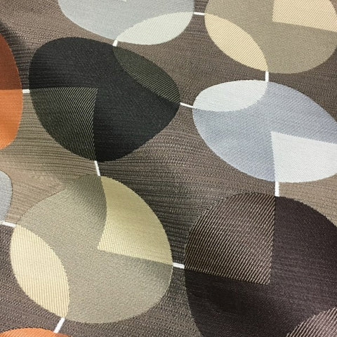 Arc-Com Compass Godiva Geometric Design Brown Upholstery Fabric