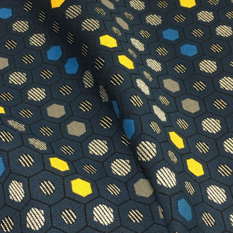 Designtex Segment Cadet Honeycomb Design Blue Upholstery Fabric