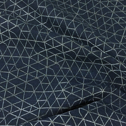 Designtex Net Blueprint Geometric Blue Upholstery Fabric
