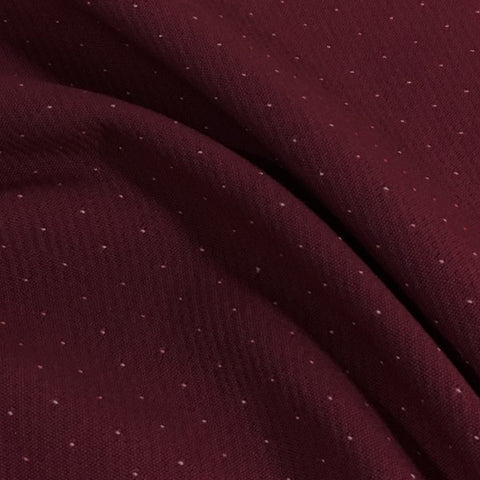 Lantel White Dot Pattern Burgundy Wool Blended Upholstery Fabric