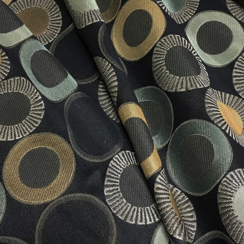 Arc-Com Yoyo Onyx Circle Design Black Upholstery Fabric