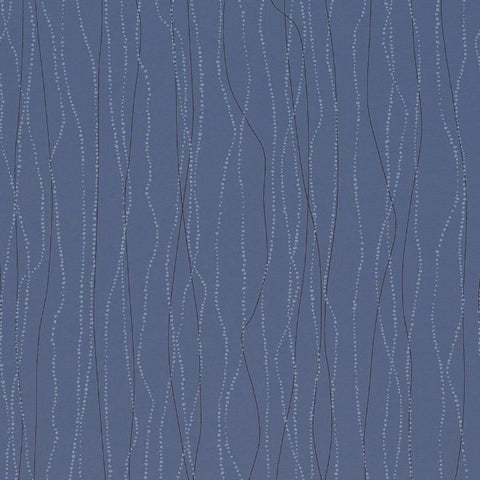 Remnant of CF Stinson Effervescence Nautical Blue Upholstery Vinyl