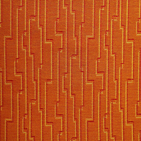 Fabric Remnant of Robotic Papaya Orange Upholstery Fabric