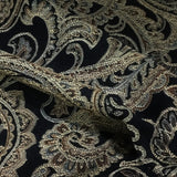 Swavelle Mill Creek Rushil Ebony Chenille Paisley Black Upholstery Fabric
