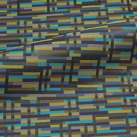 CF Stinson Marquetry Peacock Crypton Blue Upholstery Fabric