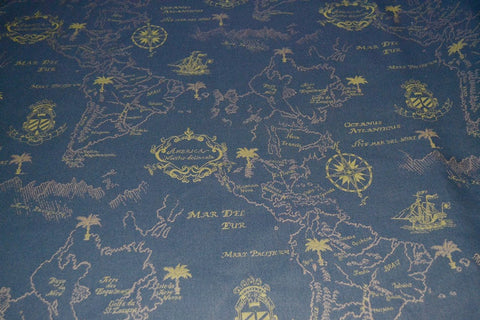 Upholstery Fabric Mapped Nautical Themed Toto Fabrics