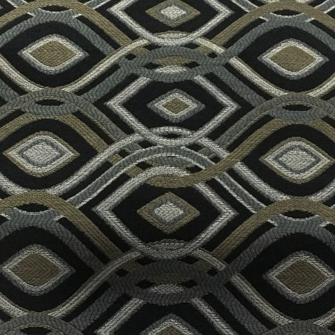 Swavelle Mill Creek Cravat Onyx Black Diamond Pattern Upholstery Fabric