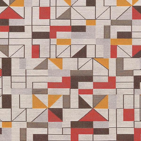 Arc-Com Apex Pepper Geometric Design Red Upholstery Fabric