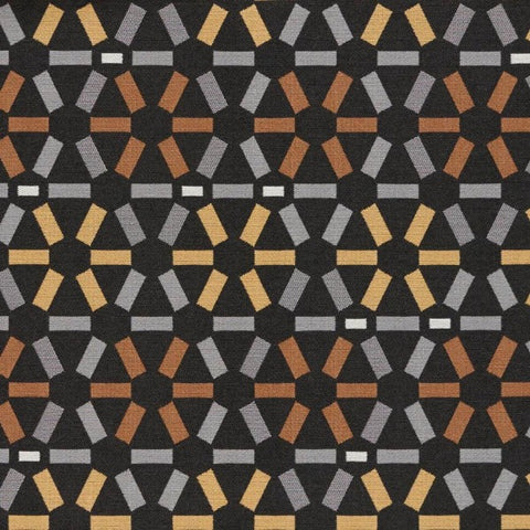Remnant of Arc-Com Atomic Onyx Upholstery Fabric