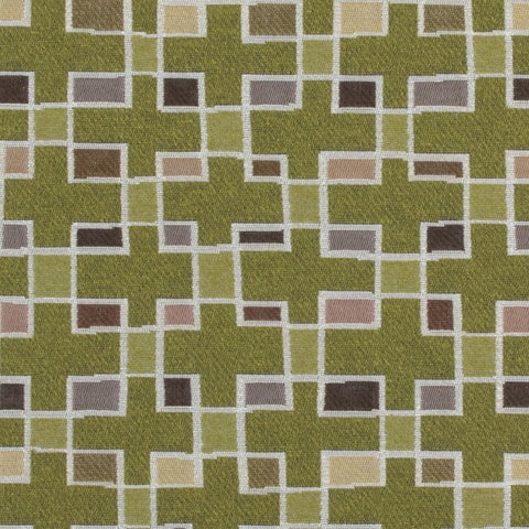 Arc-Com Block Party Grass Colorful Geometric Green Upholstery Fabric