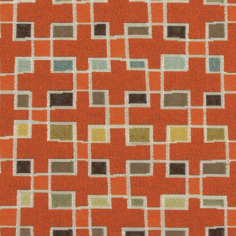 Arc-Com Block Party Papaya Colorful Geometric Orange Upholstery Fabric