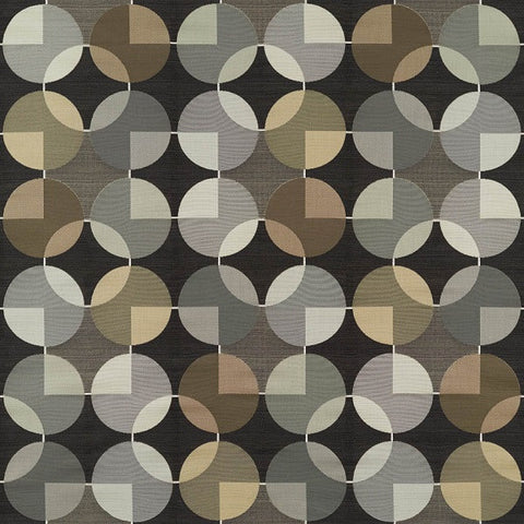 Arc-Com Compass Onyx Geometric Design Black Upholstery Fabric