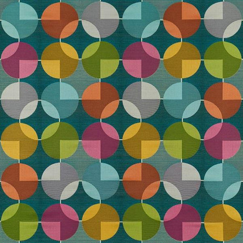 Arc-Com Compass Teal Geometric Design Blue Upholstery Fabric