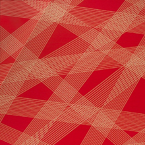 Momentum Crossing Colors Cadmium Large Scale Stripe Red Upholstery Fabric