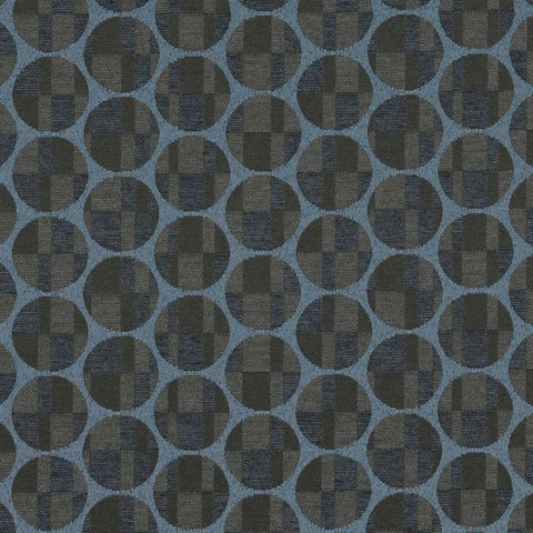 Maharam Disc Somber Crypton Circles And Squares Blue Upholstery Fabric
