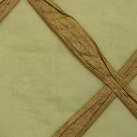 Campeche Artichoke Silk Ribbon Lattice On Voile Drapery Fabric